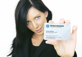 image of woman holding USB business card