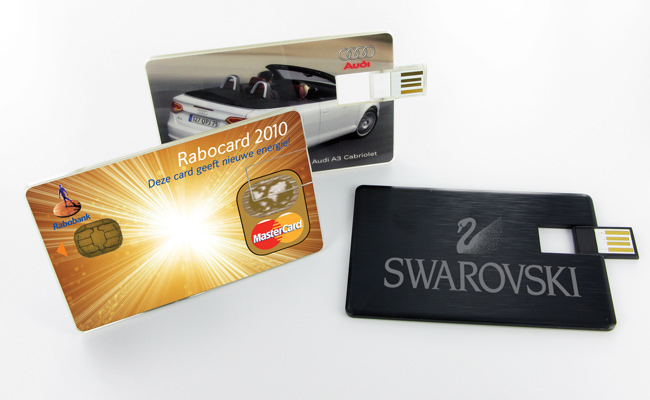Two Photo Printed Wafer Series Usb Cards Left And Centre Along With A Laser Engraved Alloy Card Right